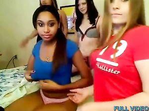 Four horny lesbian girlfriends make...