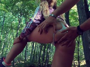 Deep anal penetration and cum in the wood