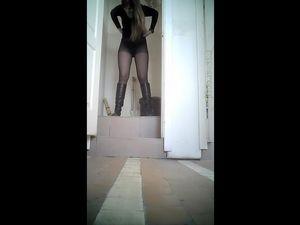 Toilet spy cam show girls pee closeup