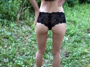 Slim chick fucked outdoor without taking...