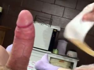 Depilation of dick and casual touch