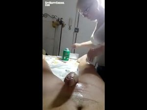 Casual touch during cock depilation