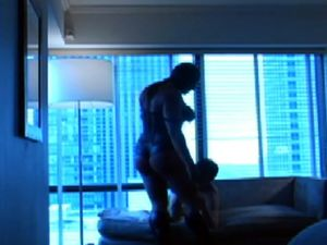 Muscled catwoman dominating her boyfriend