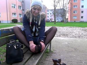 Russian slut in pantyhose doing footjob at...