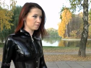 Sexy chick in latex catsuit and latex...