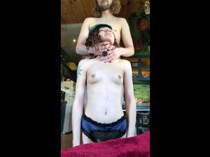 Dude licking armpits of skinny girl during...