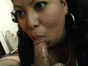 Plain black mom sucking my long cock