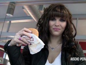 Brunette eats jizzed burger after blowjob...