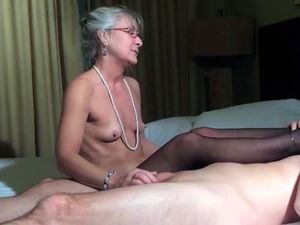 Small tits old granny jerking dick