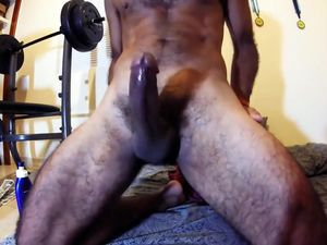 Straight man with erect hairy cock