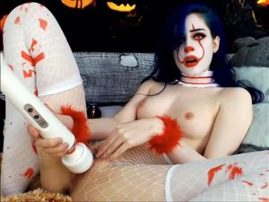 Sexy babe in devil cosplay having orgasms...
