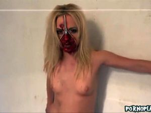 Zipper zombie face gets fucked