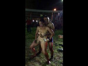 Nude wet dancing during outdoor party