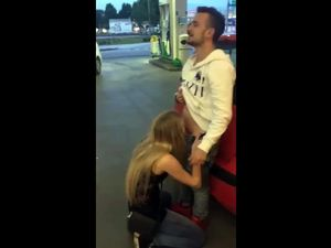 Blonde hooker sucking cock in gas station