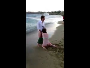 Crazy public beach blowjob from drunk whore