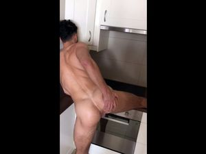 Demonstrating his shaved asshole in kitchen