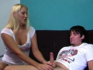 Blonde cheerful girlfriend jerking nice