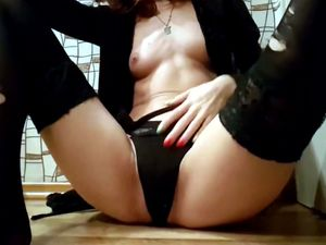 Girl fucked herself in both holes by...