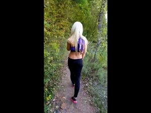 Blonde hottie flashing juicy boobs at hiking