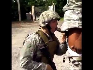 Soldier forced to suck black cock