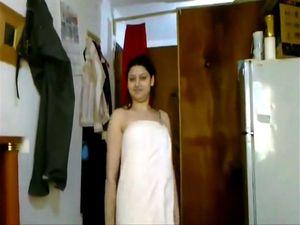 Indian beauty girl dancing in towel after...