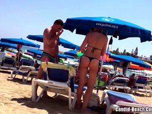 Thong ass bikini horny milfs beach voyeur...
