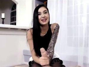 Stockinged asian cutie gets her twat nailed