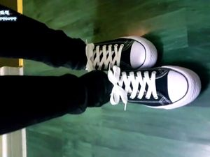 Chinese teen in leggins footjob