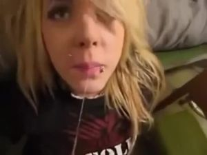 Blonde emo teen gets powerful cumshot in...