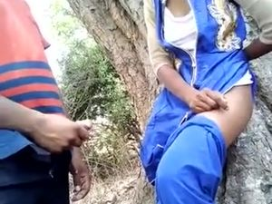 Indian teen couple fucking in jungle