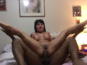 Big breasted mature amateur takes BBC in ass