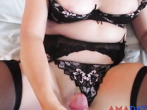 Girl's pussy covered in cum.