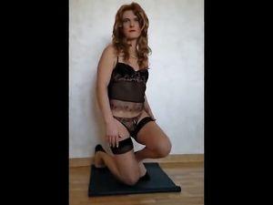 Mature crossdresser play and cum