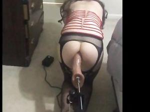 Girly CD Taking a Hard Dildo Pounding