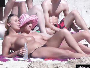 Hidden camera while girls sunbathing naked...