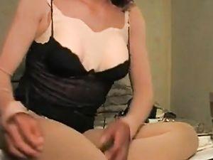 Crossdresser play with feet and ass