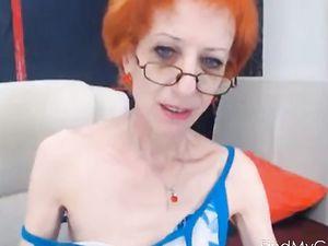 amazing skinny gilf fucks her dildo...