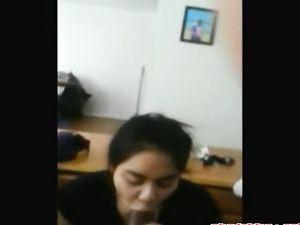 Asian girl milks black dick