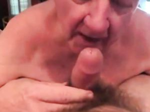 White-haired grandpa perfectly BJ with...