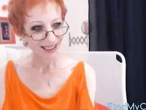 amazing skinny gilf fucks her dildo
