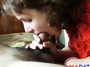 Submissive Girl gives blowjob, licks cum...