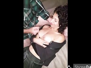 Hubby allowed friend to cum on girls tits