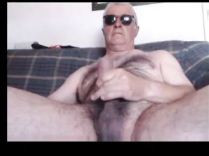 Dad's hairy thick uncut cum fountain on cam