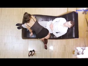 sensual brunette black stockings...