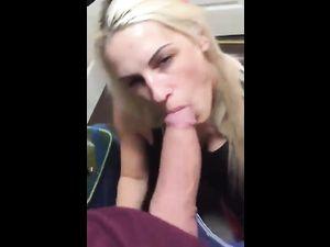 Blonde GF sucking huge cock