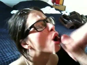 Lucky girl in glasses got about pint jizz...