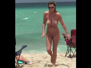 Fully naked woman nudist with...