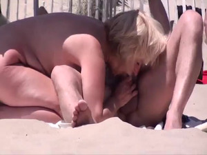 Beach cock sucking at French Cap d'agde