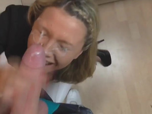 Powerful cumshot all over face of cute whore
