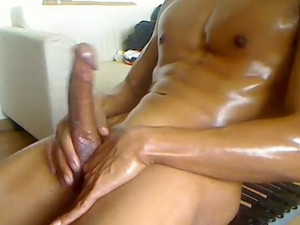 Oiled, shaved perfect body guy...